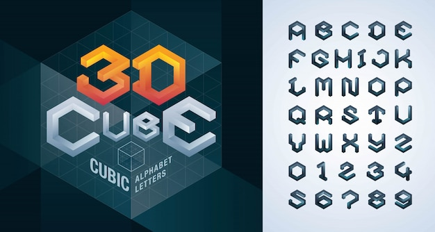Abstract cube stylized fonts