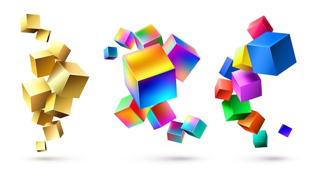 Abstract cubes compositions. golden geometric shapes, colorful cubic 3d composition and bright color cube abstraction