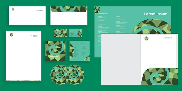 Abstract curly circle pattern mosaic modern corporate business identity stationary