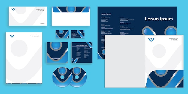 Abstract curly letter v modern corporate business identity stationary