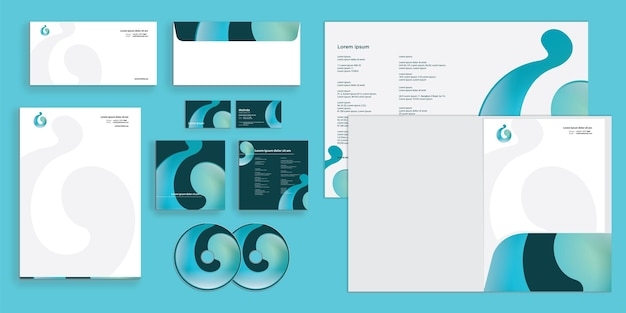 Abstract curly liquid modern corporate business identity stationary