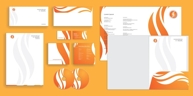 Abstract curly wave fire shapes modern corporate business identity stationary