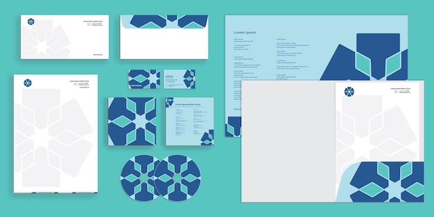 Abstract curly wave modern corporate business identity stationary draft