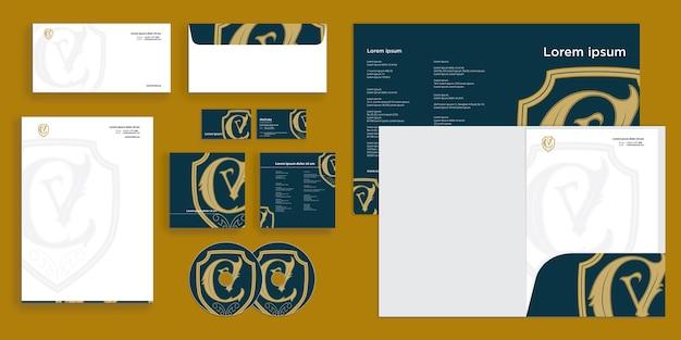 抽象カーリーウェーブ現代のコーポレートビジネスアイデンティティ固定ドラフト