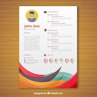Abstract curriculum template with colorful waves