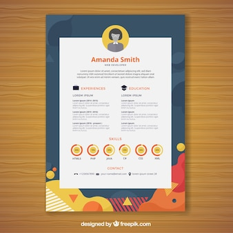Abstract curriculum template with graphics