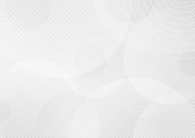 ハーフトーン効果を持つ抽象的な曲線の白とグレーのグラデーションカラーの背景。