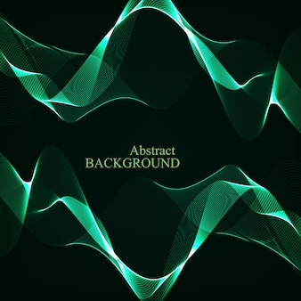 Abstract curved lines on black background. vector illustration