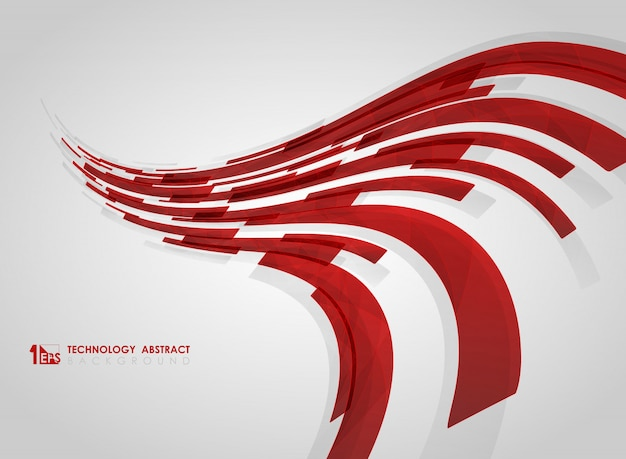 Abstract curved red technology stripe lines square geometric background.