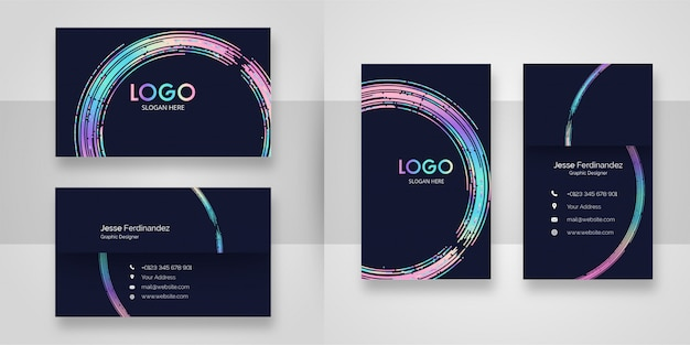 Abstract curved shape business card template