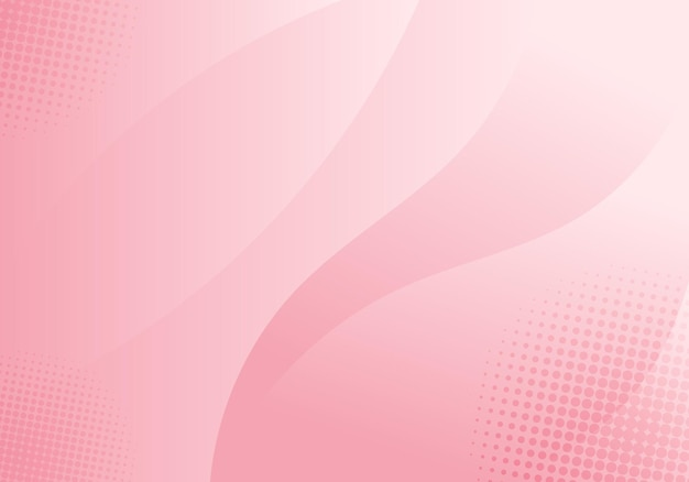 Abstract curved shape layer soft pink color with halftone effect background. vector illustration