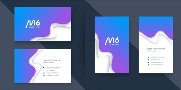 Abstract curved shape paper cut style purple and blue business card template