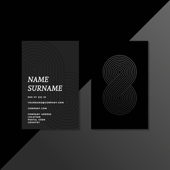 Abstract curvy lines monochrome business cards