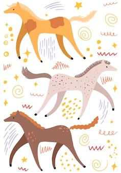 Абстрактные милые бегущие лошади плоской рисованной векторные иллюстрации. красочная коллекция в скандинавском стиле. набор простых элементов животных для дизайна.