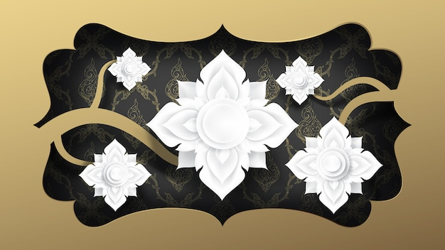 Abstract cutting paper art of white flowers.