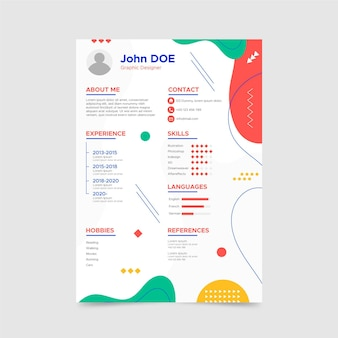 Abstract cv template with different shapes