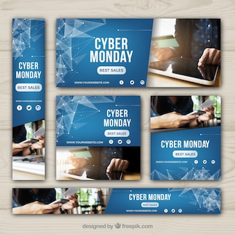 Abstract cyber monday banners