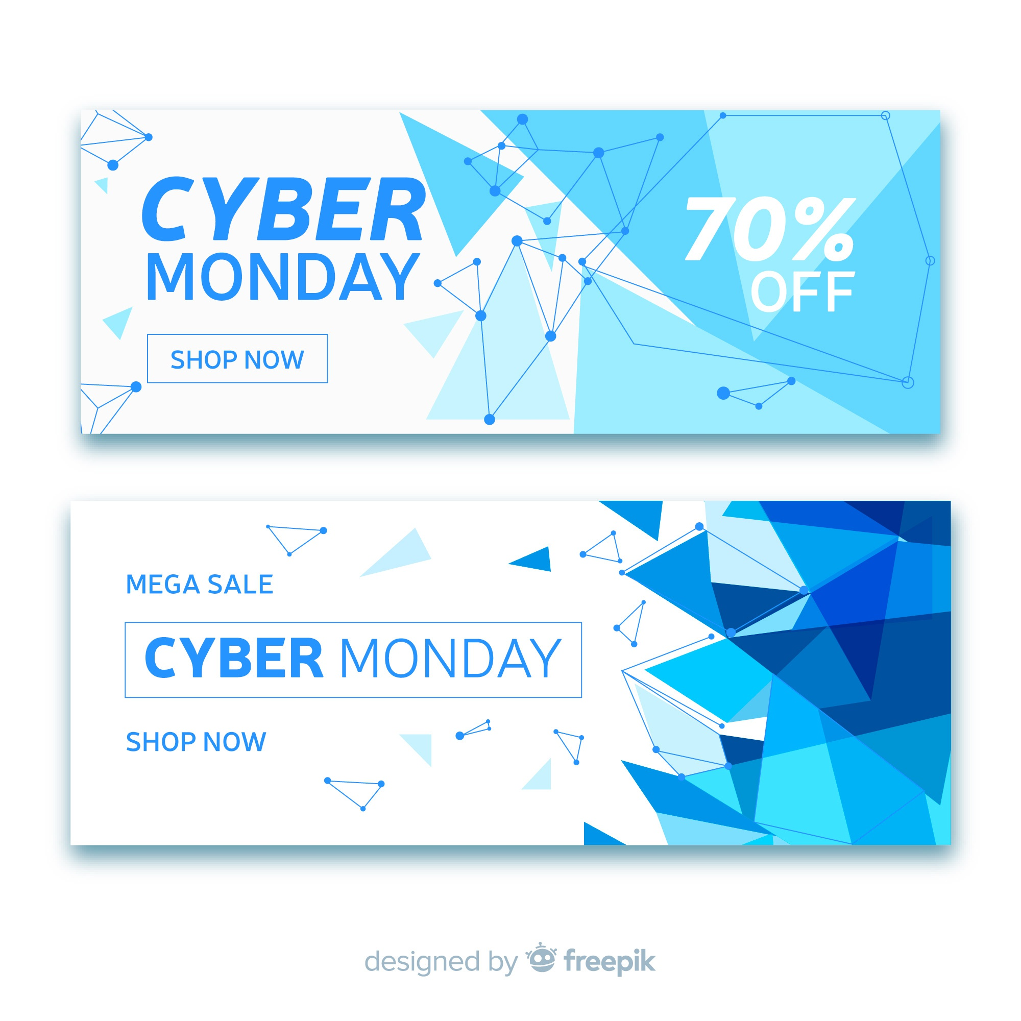 Abstract cyber monday sale banner collection