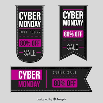 Abstract cyber monday sales banner set