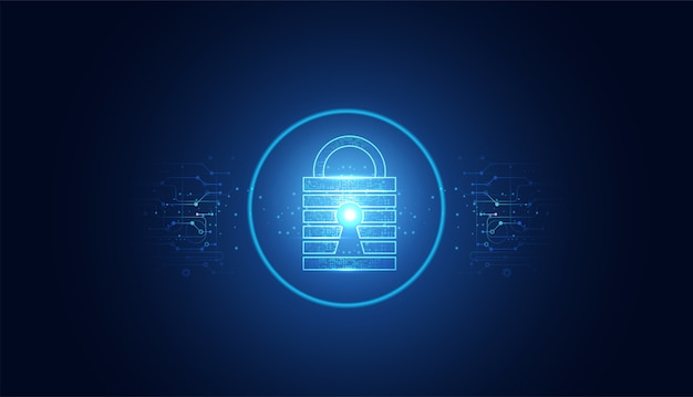 Abstract cyber security with padlock blue circle