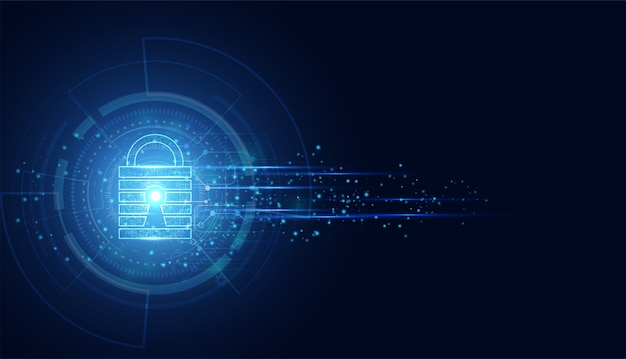 Abstract cyber security with padlock blue wave speed