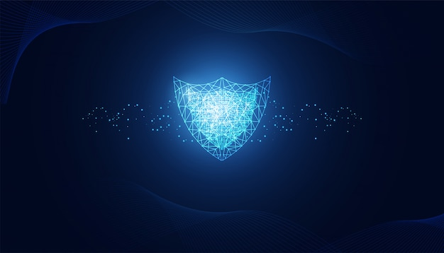 Abstract cyber security with shield blue wave technology