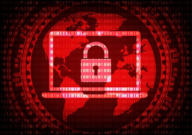 Abstract cybercrime malware ransomware virus background.