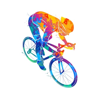 水彩画のスプラッシュからレーストラックで抽象的なサイクリスト。塗料のイラスト。