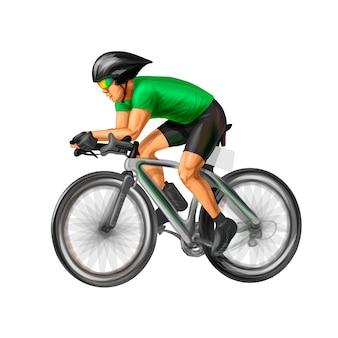 Абстрактный велосипедист на гоночной трассе. реалистичные векторные иллюстрации красок