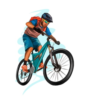 Abstract cyclist on a race track from splash of watercolors colored drawing athlete on a bike