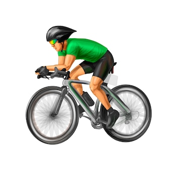 Abstract cyclist on a race track. vector realistic illustration of paints