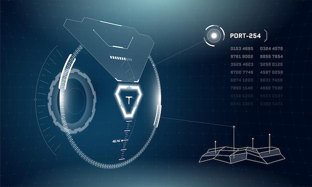 抽象d未来技術ハドサークル光る要素デジタルサイバーパンクインターフェース画面