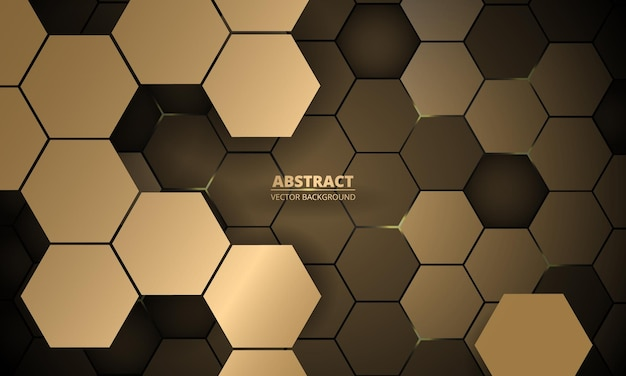 Abstract d hexagonal gold luxury vector background
