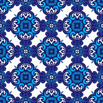 Абстрактный узор дамасской мандалы бесшовные орнамент для ткани. голубая плитка азулежу