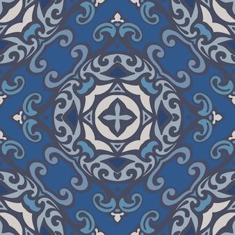 Абстрактный узор дамасской мандалы бесшовные орнамент для ткани. вектор голубой плитки азулежу