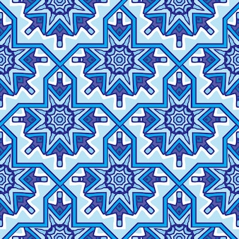 生地の抽象的なダマスク曼荼羅シームレス装飾パターン。ベクトル青いペルシャタイル