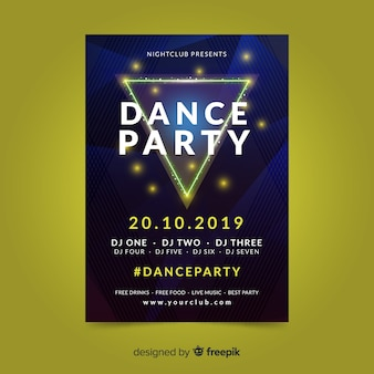 Abstract dance party poster template