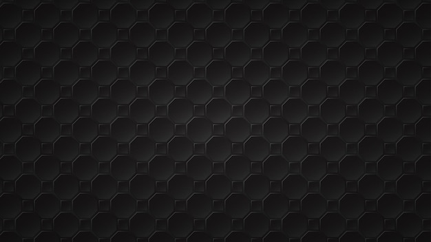 Abstract dark background of black octagon and square tiles with gray gaps between them