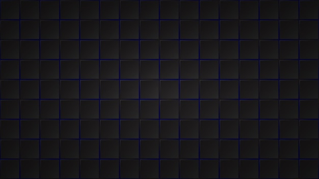 Abstract dark background of black square tiles with blue gaps between them
