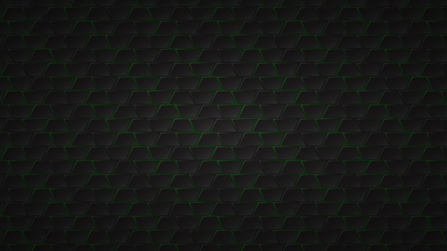 Abstract dark background of black trapezium tiles with green gaps between them