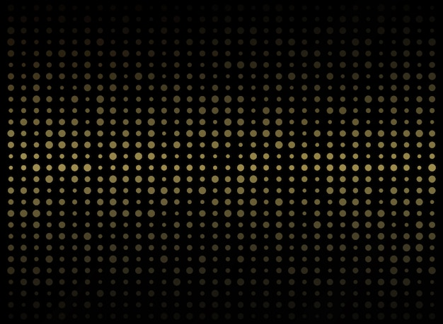 Abstract of dark background on gold circle shape random size pattern.
