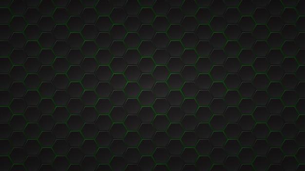 그들 사이에 녹색 간격이있는 검은 육각형 타일의 추상 어두운 배경