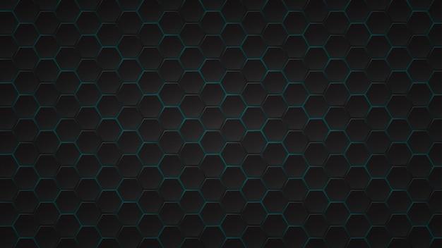 검은색 육각형 타일 사이에 밝은 파란색 간격이 있는 추상 어두운 배경