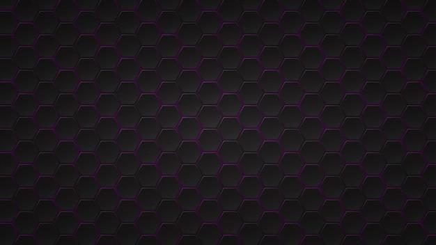 사이에 보라색 간격이 있는 검은색 육각형 타일의 추상 어두운 배경
