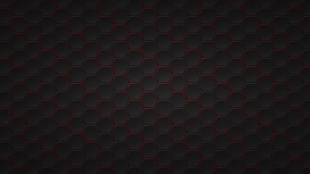 그들 사이에 빨간색 간격이있는 검은 육각형 타일의 추상 어두운 배경