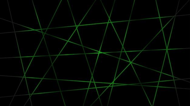 緑の色で交差する線の抽象的な暗い背景