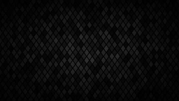 Абстрактный темный фон из небольших ромбов в оттенках черного и серого цветов.