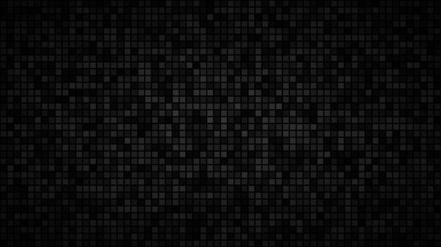 Абстрактный темный фон из маленьких квадратов или пикселей в оттенках черного и серого цветов.
