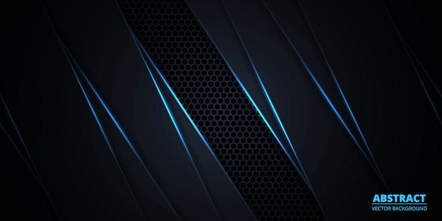 Абстрактный темный фон с голубыми светящимися линиями и бликами.