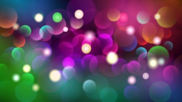 다양한 색상의 보케 효과가 있는 추상 어두운 배경